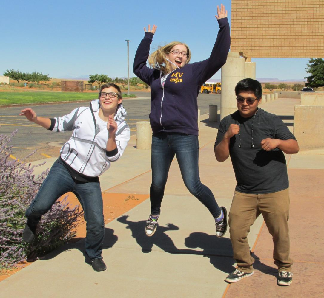 The Monument Valley High School student body officers are, from left to right, Tanin Carlson, Meka Laws and Jeremy Yellowhair. Laws is student body president, Carlson is vice president and Yellowhair is secretary treasurer.