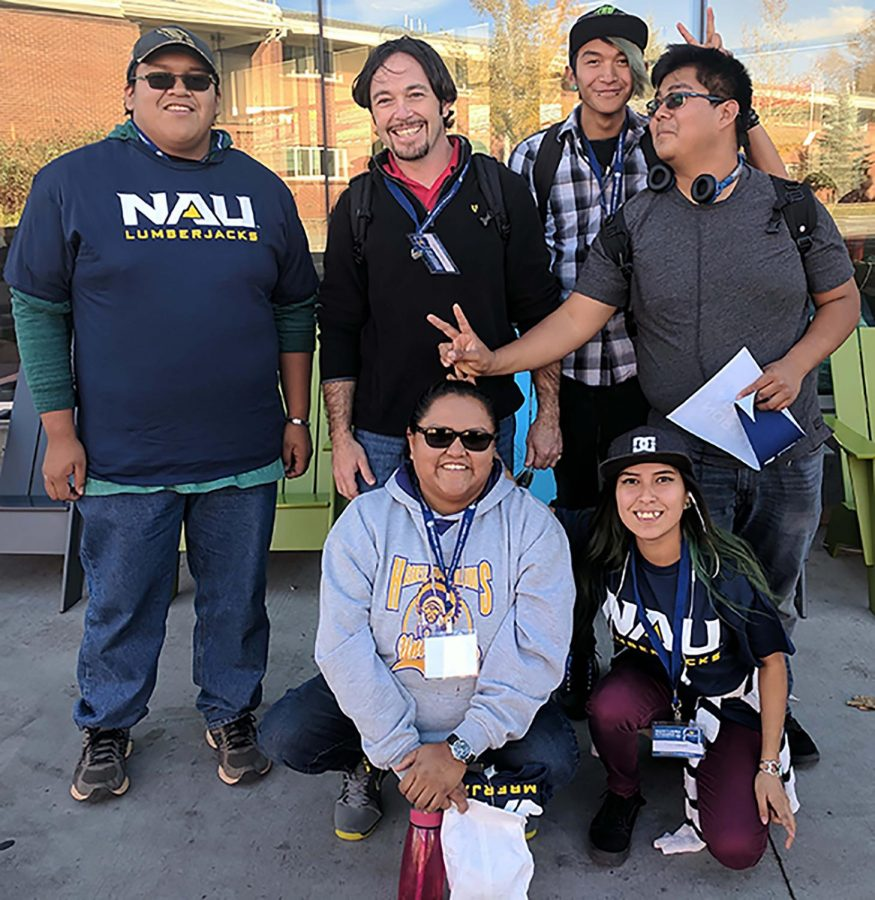 Participants in a recent college visit to Northern Arizona University are, back row left to right, Grant Hurley, Justin Galloway, Lavander Shortman and Jeremy Yellowhair. Front row, left to right, Wyona Atene and Durshanna Cody. (Photo courtesy MVHS counseling office)